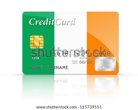 3D rendered Credit Card covered with Irish flag.