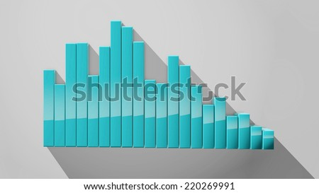 3d rendered cyan vertical bars with shadows and reflection going down