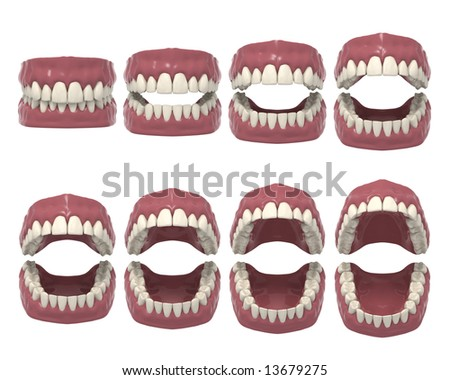3d rendered dental prosthesis in opening action - stock photo