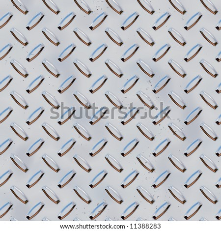 3d rendered diamond plate metal surface background texture (seamless square tile pattern) - stock photo