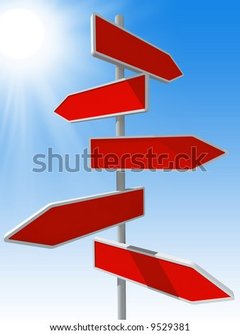 3d rendered direction signs on sky background - stock photo