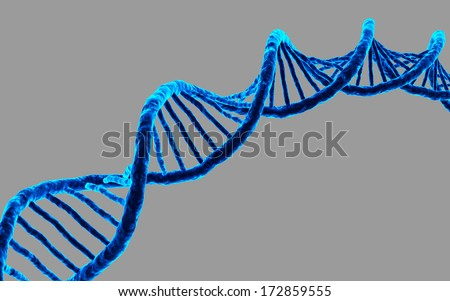 3d rendered DNA isolated on dark background - stock photo