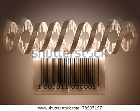 3D rendered DNA structure and barcode - stock photo