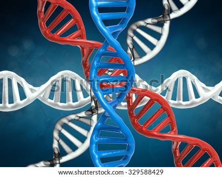 3d rendered dna structure on blue background - stock photo