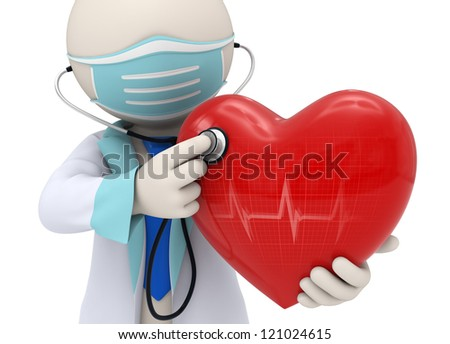 3d rendered doctor examining a big red heart with a stethoscope and the heart reflecting a cardiogram - stock photo