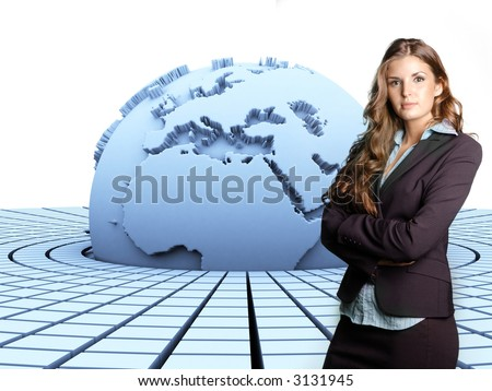 3d rendered earth with a businesswoman in front of it - stock photo