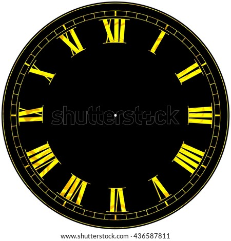 3D Rendered elegant black and gold Roman clock face isolated on a white background.