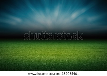 3d rendered empty soccer field with blue sky background