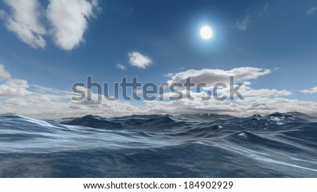 3D rendered enviroment scene of ocean at sunset with sun on the sky - stock photo