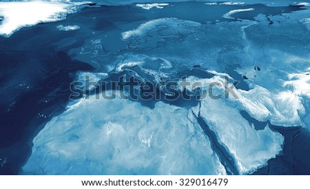 3d rendered europe geographical map with displaced surface - stock photo