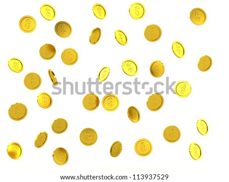 3d rendered failing golden coins, isolated on white - stock photo