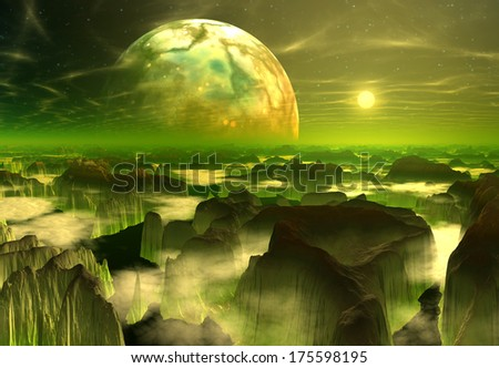 3d rendered fantasy alien planet - stock photo