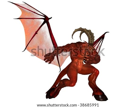 3D rendered fantasy demon isolated on white background
