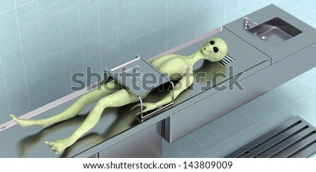 3D rendered fantasy died alien on the table in the secret laboratory - stock photo
