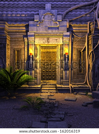 3D rendered fantasy temple gate in the night - stock photo