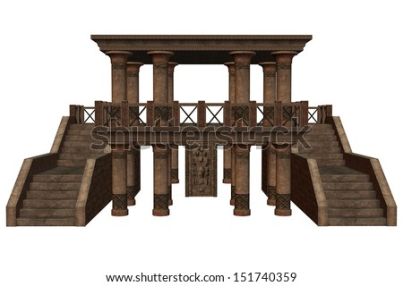 3D rendered fantasy temple on white background isolated - stock photo