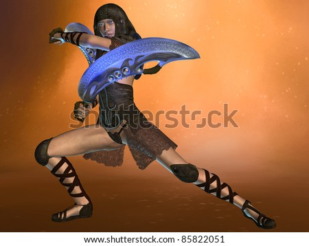3D rendered fantasy woman warrior with exotic swords