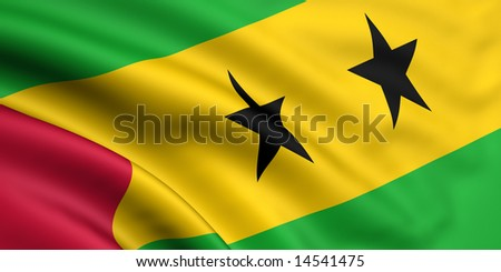 3d rendered flag of sao tome and principe - stock photo
