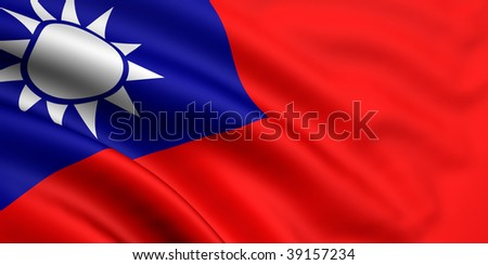 3d rendered flag of taiwan
