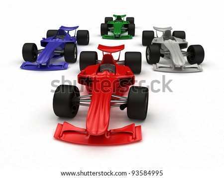 3D rendered Formula Cars - stock photo