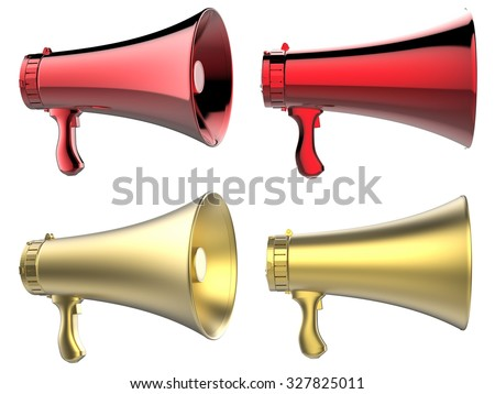 3d rendered four megaphones isolated on white - stock photo