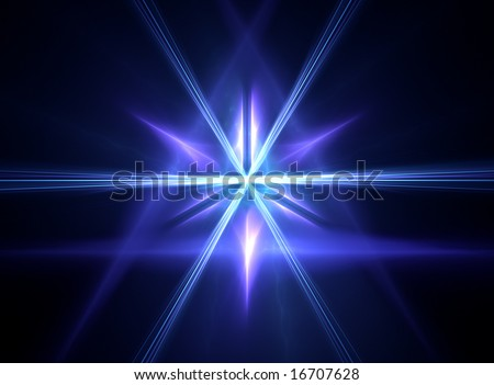 3D rendered fractal:blue mystic pyramid with a ray burst coming out from its center. - stock photo