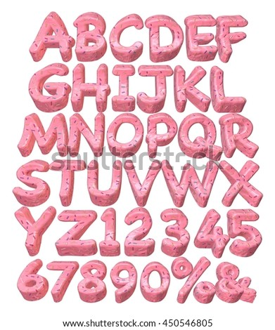 3D rendered full alphabets in donuts on white background.
