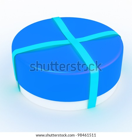 3D Rendered gift box with a bow on white background