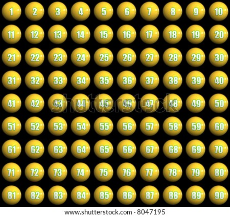 3d rendered glossy numbered balls (1-90)