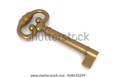 3d rendered gold antique key isolated on white background