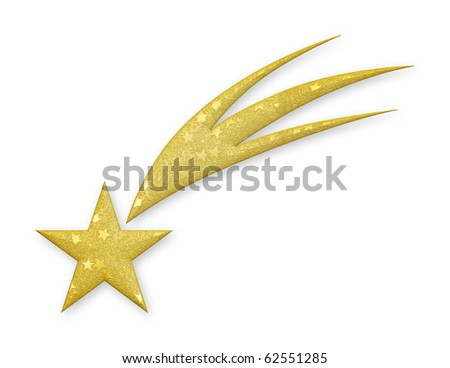 3D Rendered gold falling star. - stock photo