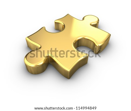 3D rendered Gold jigsaw puzzle. - stock photo
