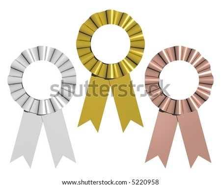 3D rendered gold, silver, and bronze award ribbons isolated on white - stock photo