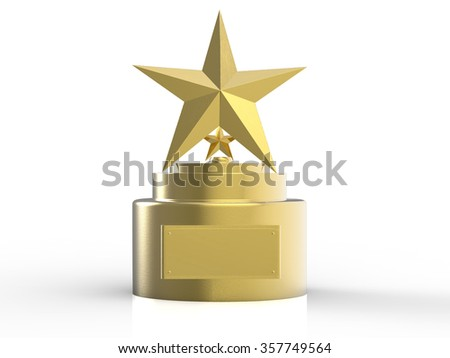 3d Rendered Gold Star Trophy Stock Illustration 357749564