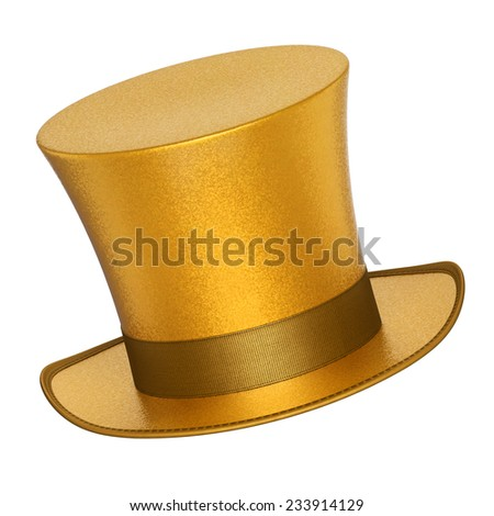 3D rendered golden decoration top hats with shiny metallic flakes style surface - isolated on white background - stock photo