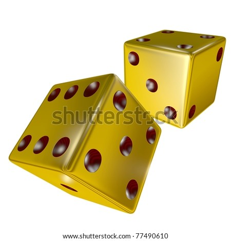 3d rendered golden dice isolated on white
