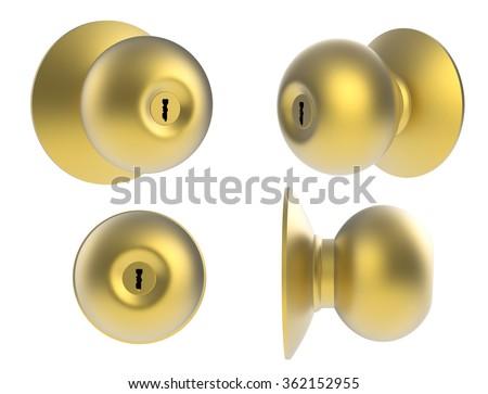 3d rendered golden door handle on white background - stock photo