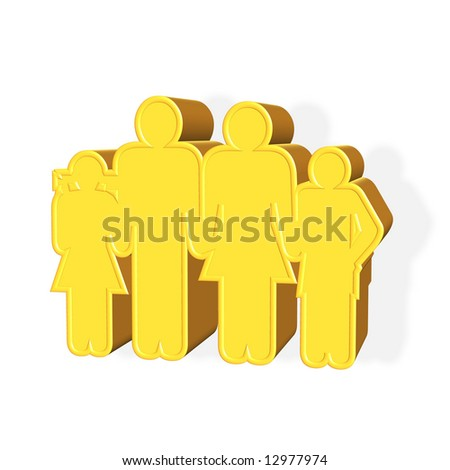 3D rendered golden family symbol over white background - stock photo