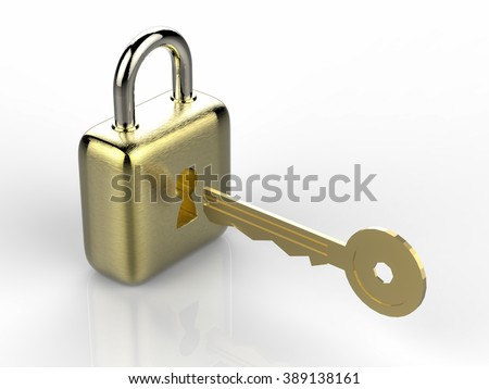 3d rendered golden padlock with key on white background - stock photo
