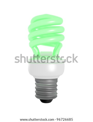3D Rendered Green Glowing CFL Light Bulb on a White Background - stock photo