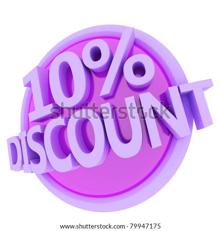 3d rendered, green 10 percent discount button - stock photo