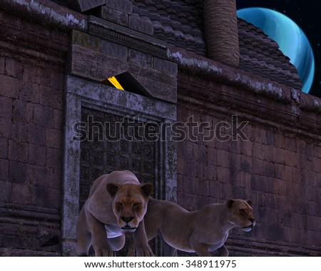 3D rendered - Guardian Lions of an ancient fantasy temple in the night