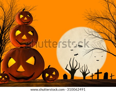 3d rendered halloween pumpkin and zombie hand rising on orange background
