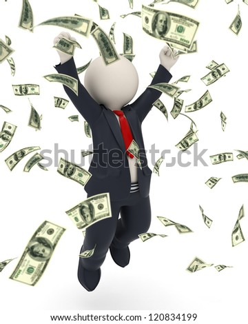 3d rendered happy business man jumping for joy and victory in money rain - stock photo