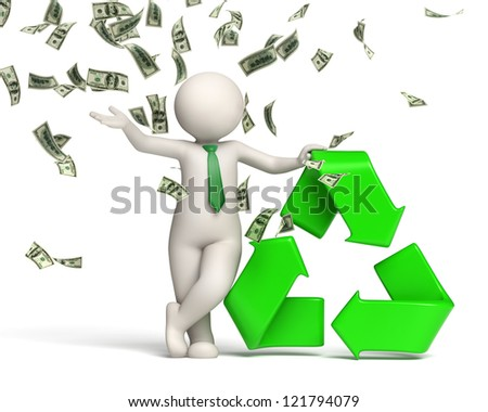 3d rendered happy man standing in a money rain near a green recycle symbol - stock photo
