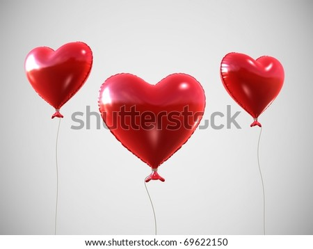 3d rendered heart-shaped balloon - stock photo