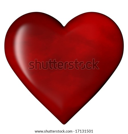3D Rendered Heart with hand painted texture, isolated on white.