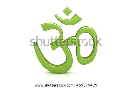 3d rendered Hinduism symbol isolated on white background .ohm