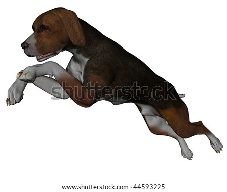 3D rendered hound dog on white background isolated