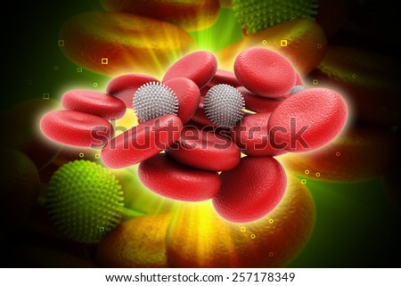 3d rendered human blood cells in colour background - stock photo